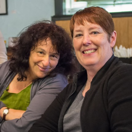 My wife (right) and her friend, Shira Kammen (left)  Fujifilm X100